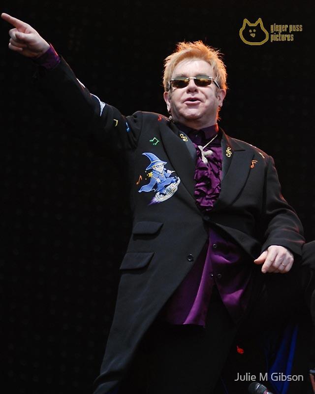 Elton John in concert by Julie M Gibson
