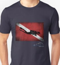 Diver Down Distressed Flag with Diver 2 T-Shirt