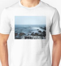 Rocky shore with misty water T-Shirt