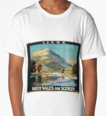 Vintage Travel Poster – North Wales for Scenery Long T-Shirt