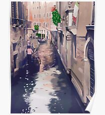 Venice canal with gondolas and gondoliers Poster