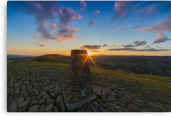 Rushup Edge From Mam Tor Summit Sunset by DougieHaworth
