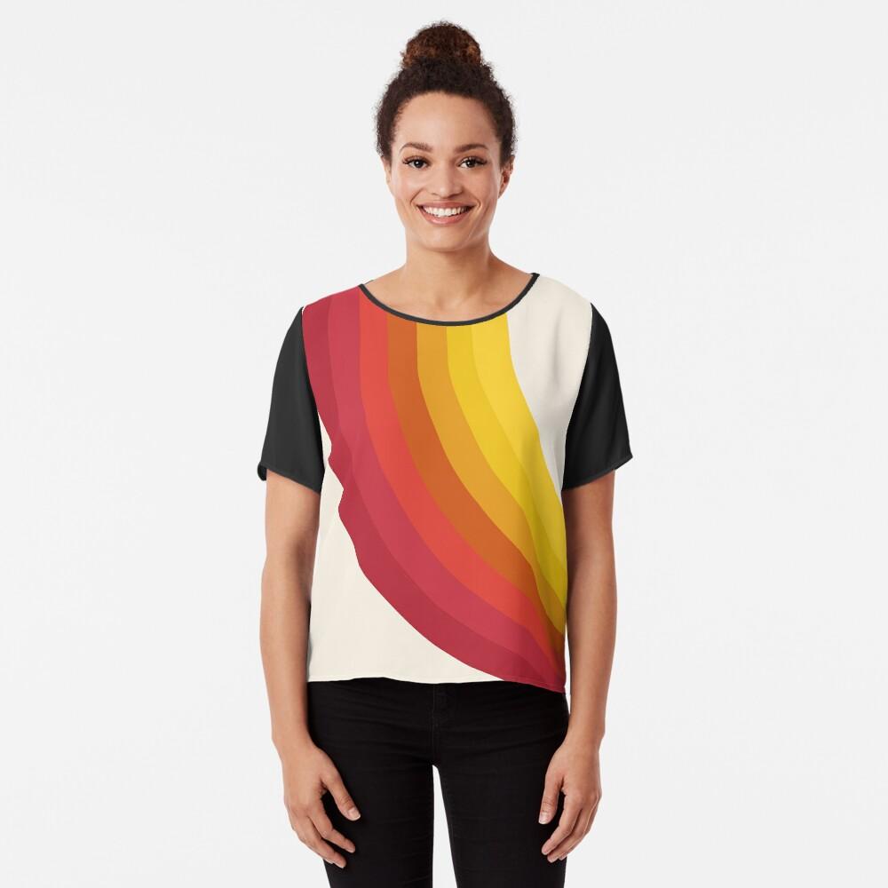 4-Sho - retro 70s style throwback vibes 1970's trendy decor art minimalist rainbow stripes Chiffon Top