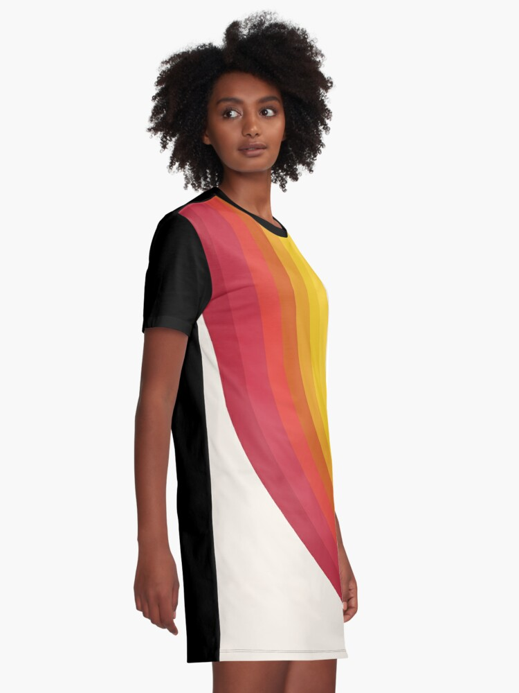 Alternate view of 4-Sho - retro 70s style throwback vibes 1970's trendy decor art minimalist rainbow stripes Graphic T-Shirt Dress