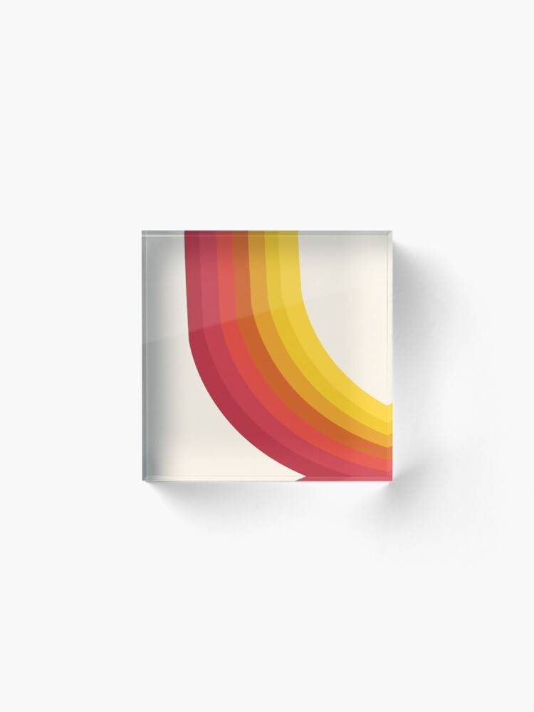 Alternate view of 4-Sho - retro 70s style throwback vibes 1970's trendy decor art minimalist rainbow stripes Acrylic Block