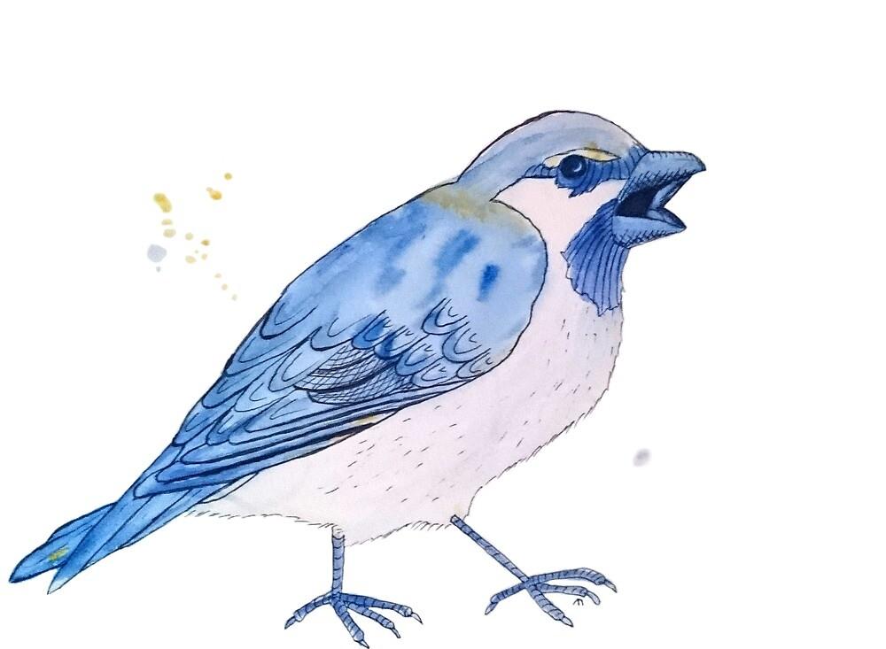 Blue Sparrow with Attitude by Linda Ursin