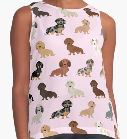 Dachshund dog breed pet pattern pet portrait doxie gifts Sleeveless Top