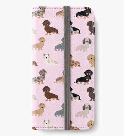 Dachshund dog breed pet pattern pet portrait doxie gifts iPhone Wallet