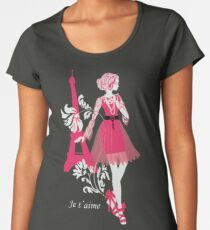 Stylish fashion woman pink and black silhouette with Eiffel Tower Women's Premium T-Shirt