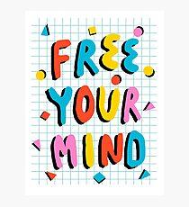 Hella' - retro 80's throwback vibes typography neon positivity  Photographic Print