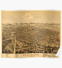 Panoramic Maps Kalamazoo Michigan 1874 Poster