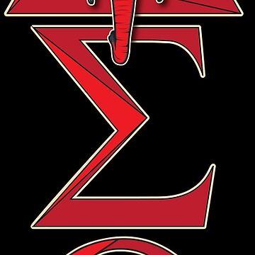 Elephant Delta Triangle Sigma Red Theta T-Shirt 2 by AlienatedOpus