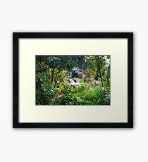 Jungle waterfall, tropical landscape Framed Print
