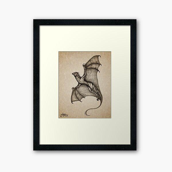 """Hurricane Wyvern"" by artist Amber Marine ~ (Copyright 2016) ~ Ink & Graphite Dragon Art Framed Art Print"