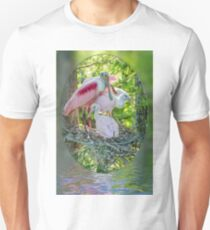 Roseate Spoonbill and Chicks at Evangeline Parish Louisiana Rookery T-Shirt