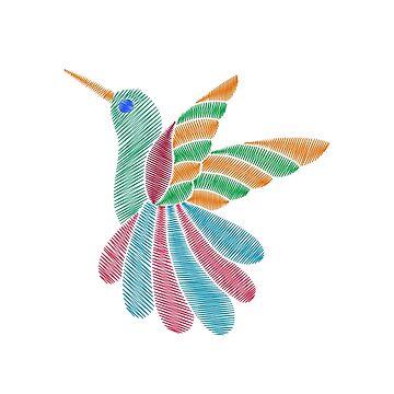 Colorful exotic hummingbird`s embroidery imitation by palomita222