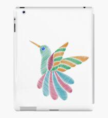 Colorful exotic hummingbird`s embroidery imitation iPad Case/Skin