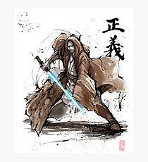 Jedi Knight from Star Wars with calligraphy Photographic Print