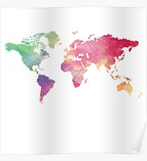 World Map - Rainbow Poster