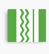Abstract, geometric, zigzag, strips - green and white. Canvas Print