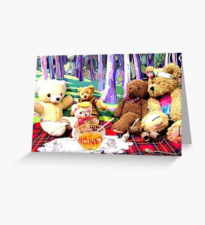 Teddy Bears Enjoying their HONEY on their Picnic Greeting Card