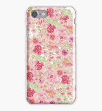 Pastel pink red watercolor hand painted floral iPhone Case/Skin