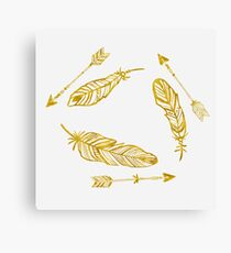 Golden Feathers and Arrows Canvas Print