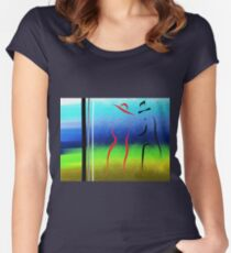 Evening Stroll Silhouette of Two Lovers Women's Fitted Scoop T-Shirt