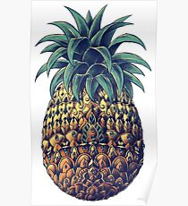 Ornate Pineapple (Color Version) Poster