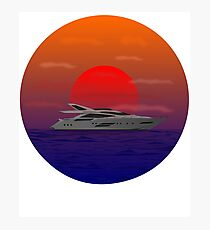 Boating, Sunset on the Lake Photographic Print