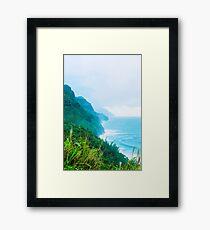 green mountain and ocean view at Kauai, Hawaii, USA Framed Print