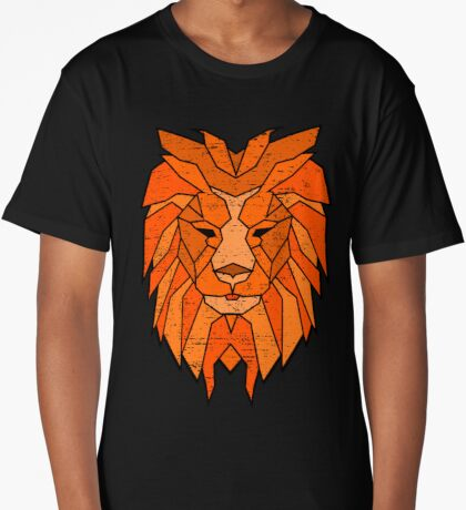Polygonal Lion Face Long T-Shirt