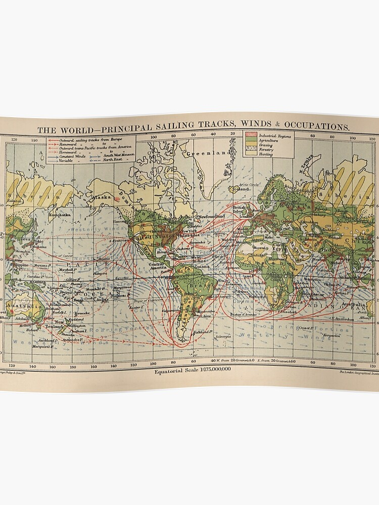 Map 1914.Vintage World Sailing Routes Map 1914 Poster