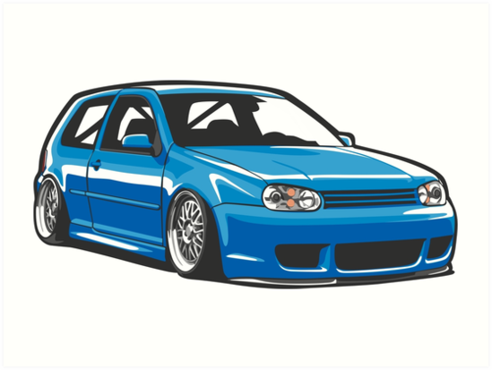 stanced out golf mk4 art prints by stickernation redbubble