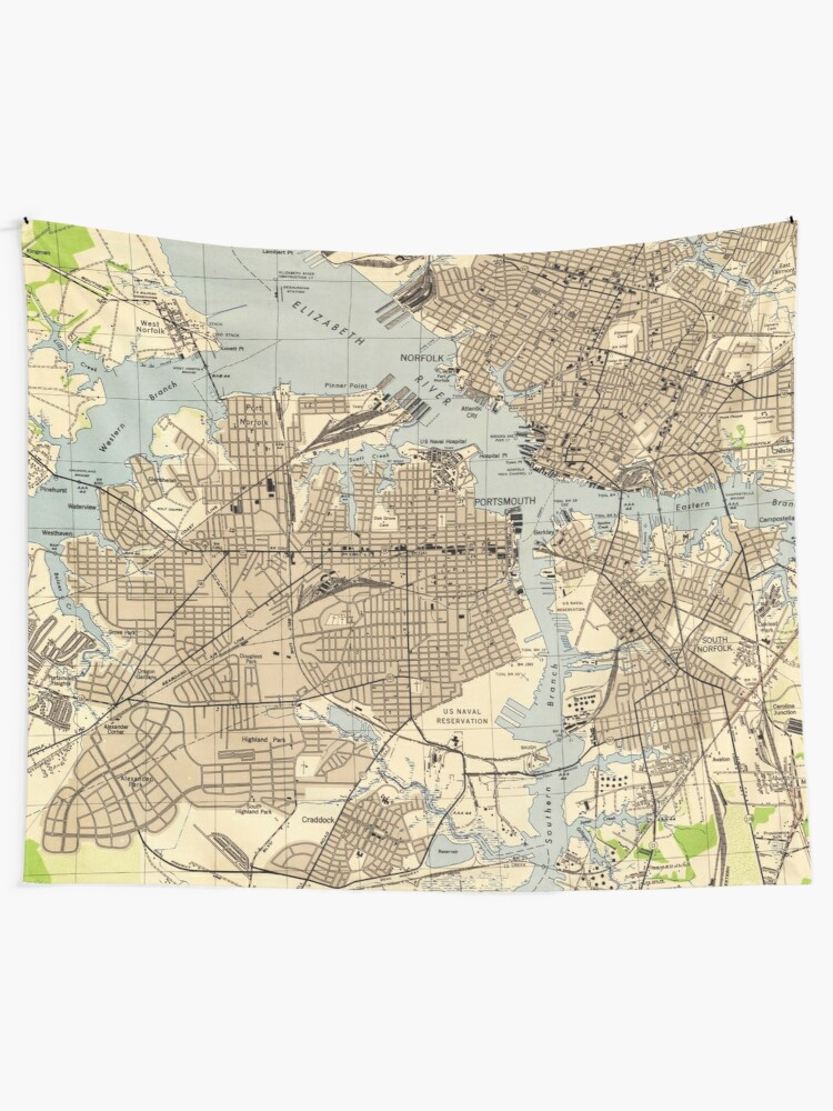 Vintage Norfolk & Portsmouth Virginia Map (1944) | Wall Tapestry