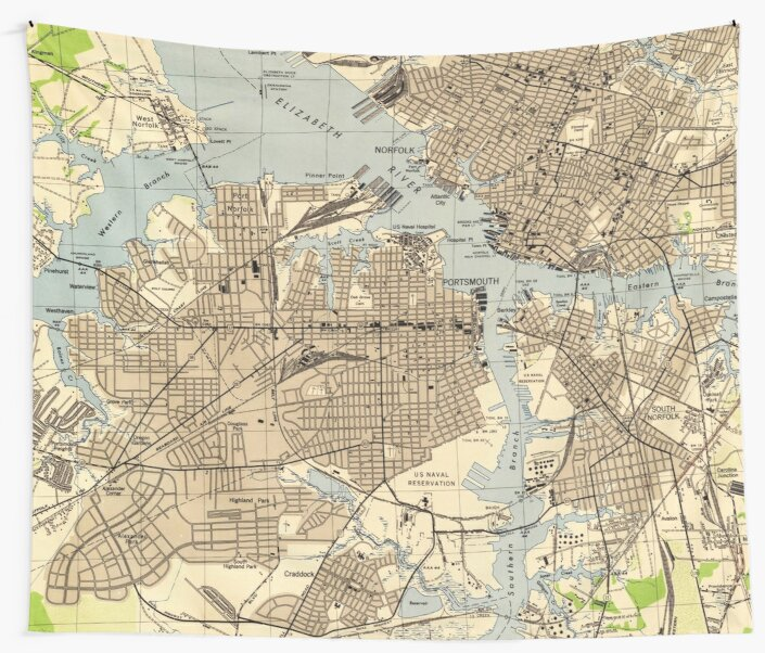 Portsmith Virginia Map.Vintage Norfolk Portsmouth Virginia Map 1944 Wall Tapestries By