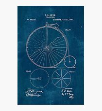 Blueprint Penny Farthing Patent Photographic Print