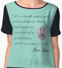Jane Austen-Pride & Prejudice Quote Women's Chiffon Top