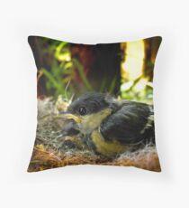 Parus Major -nest Throw Pillow