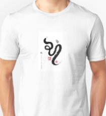 Year of Snake Zodiac Card, Chinese Letters inspired Symbolic Animal Sumi-e Painting, Ink Illustration, B&W, Zen, Birthday T-Shirt