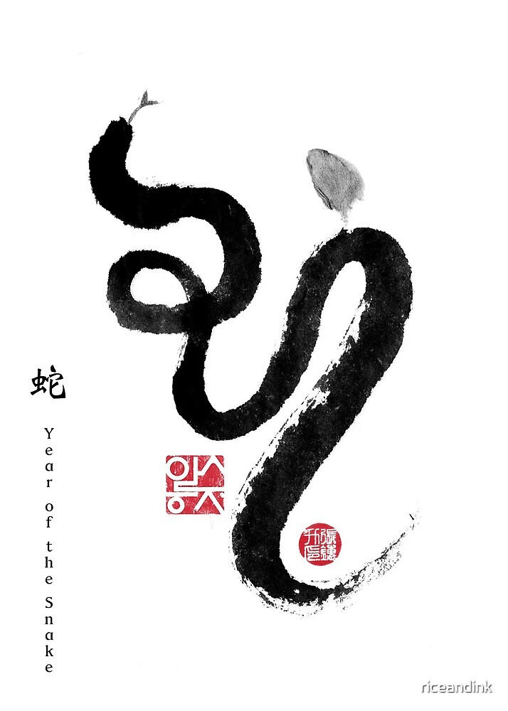 Year of Snake Zodiac Card, Chinese Letters inspired Symbolic Animal Sumi-e Painting, Ink Illustration, B&W, Zen, Birthday by riceandink