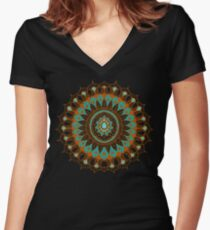 Hand-Drawn Bohemian Mandala Turquoise & Rust Women's Fitted V-Neck T-Shirt