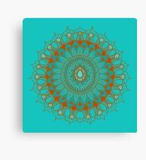 Hand-Drawn Bohemian Mandala Turquoise & Rust Canvas Print