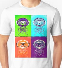 funny skull and bone with glasses with green blue orange and purple background T-Shirt