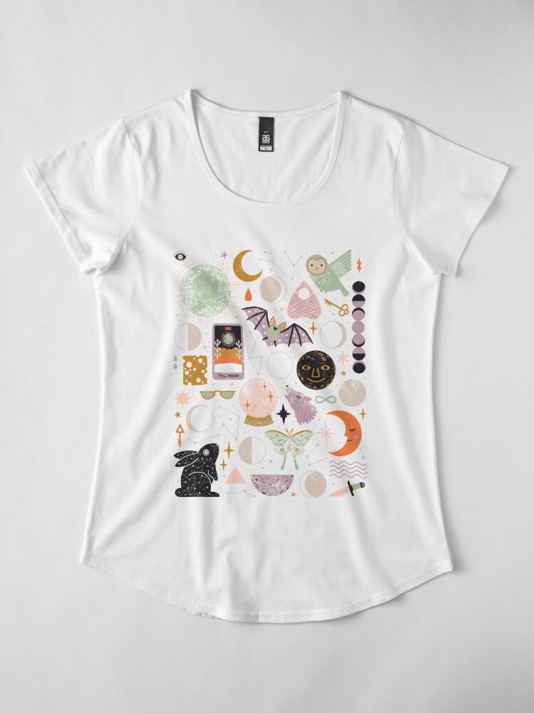 Alternate view of Lunar Pattern: Blue Moon Premium Scoop T-Shirt