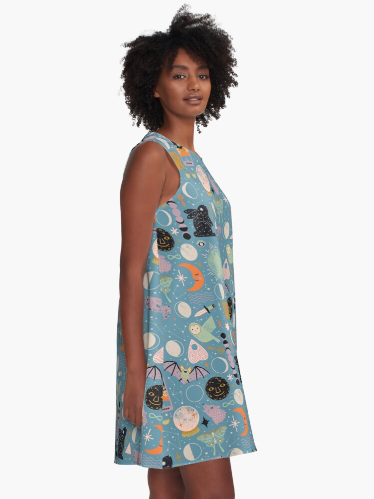 Alternate view of Lunar Pattern: Blue Moon A-Line Dress