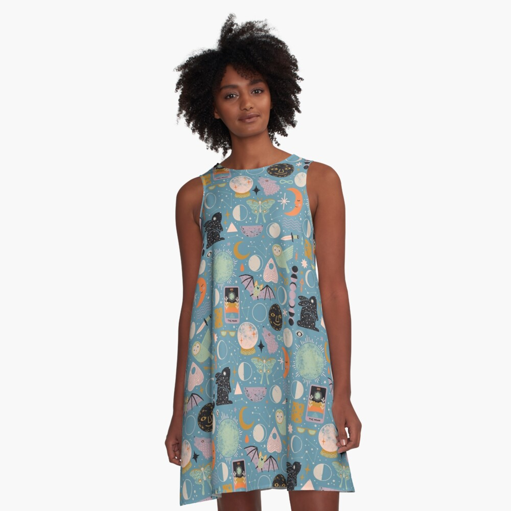 Lunar Pattern: Blue Moon A-Line Dress