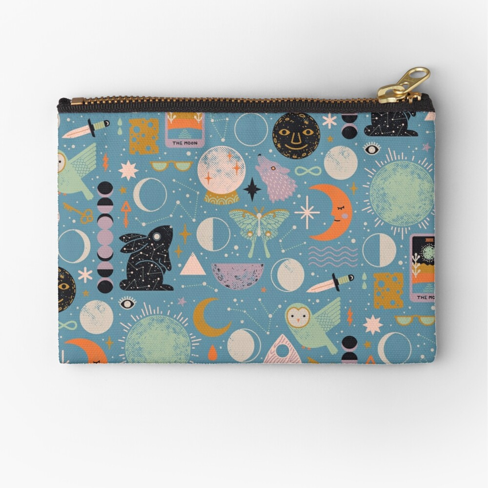 Lunar Pattern: Blue Moon Zipper Pouch