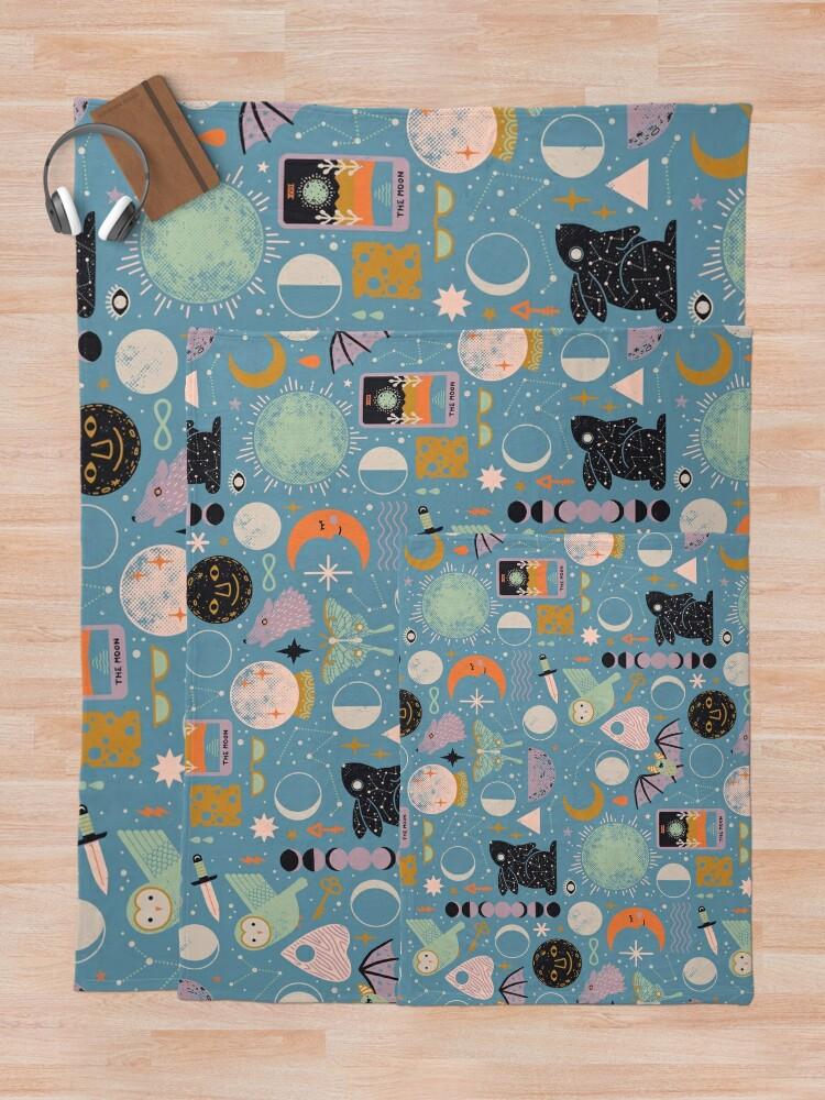 Alternate view of Lunar Pattern: Blue Moon Throw Blanket