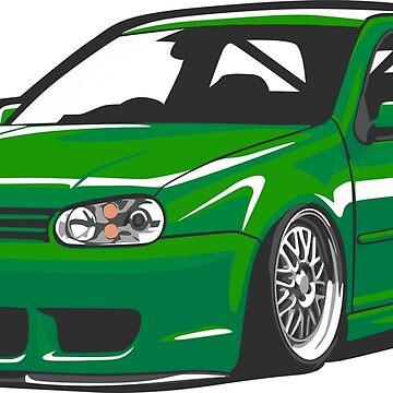 Stanced out Golf MK4 Green by StickerNation